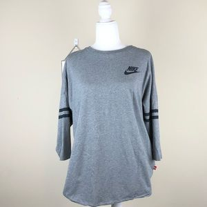 NIKE   Gray Baseball Tee Shirt Just Do It XL 3/4
